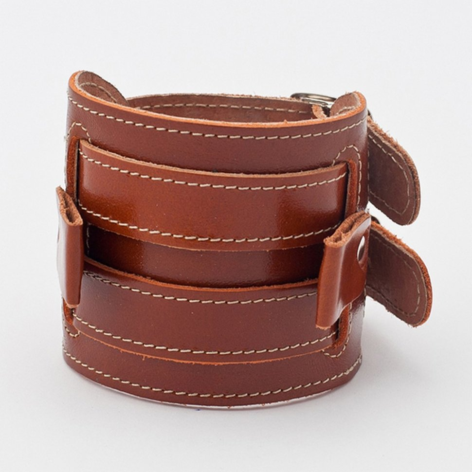 027bf5b6 Широкий кожаный прошитый браслет для часов Aviator Stitch коньячного ...