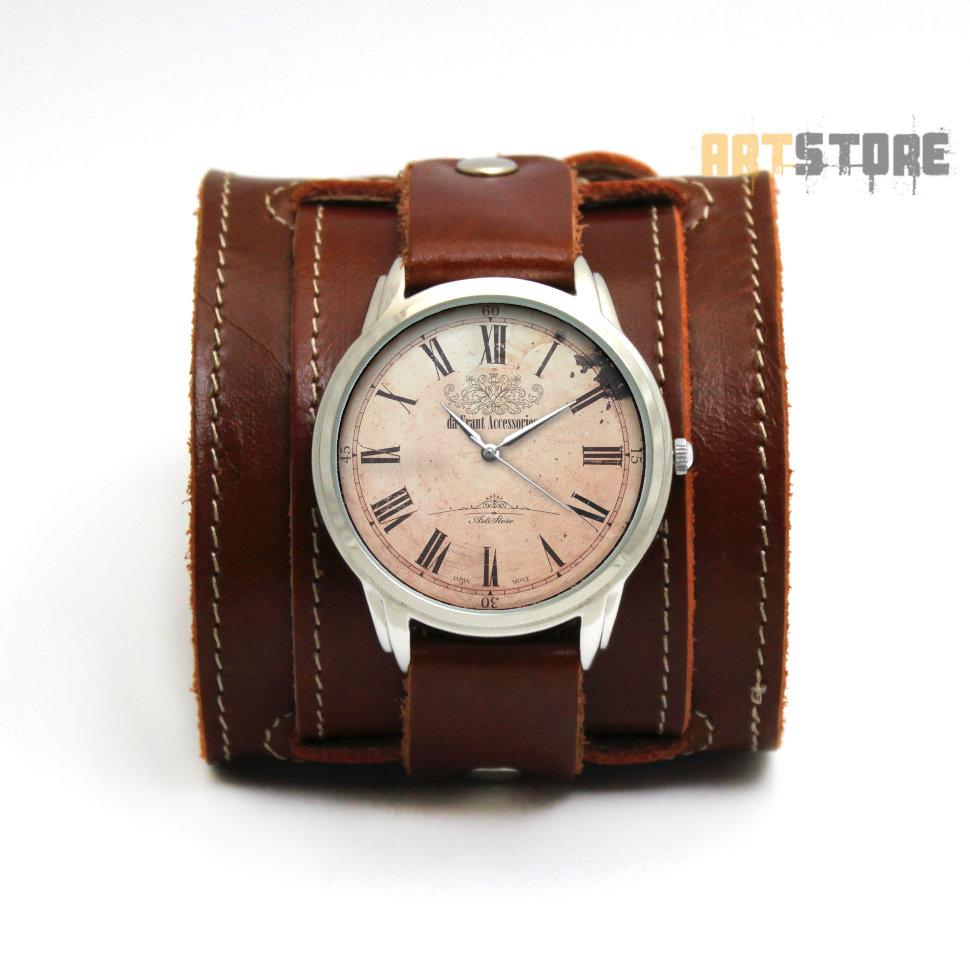 6ee6b158 da Frant - наручные часы в винтажном стиле на широком кожаном ...